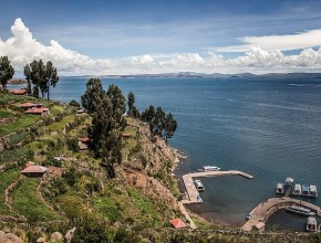 Lake Titicaca is the highest navigable lake in the world, resting at an elevation of 12,556 feet above sea level.